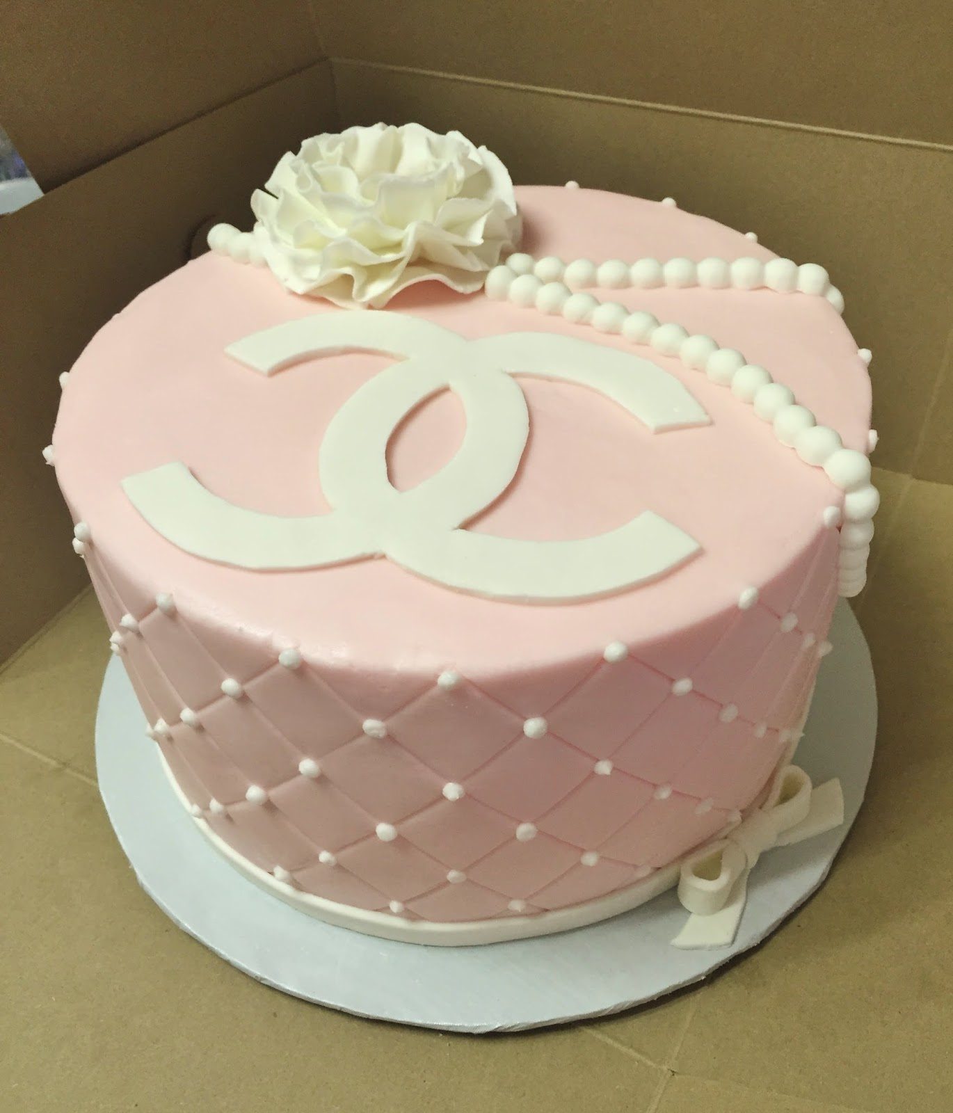 Cakes by Mindy Pink and White Chanel Cake 8""