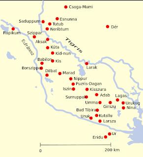 Mapa de Sumeria con las principales ciudades-estado.