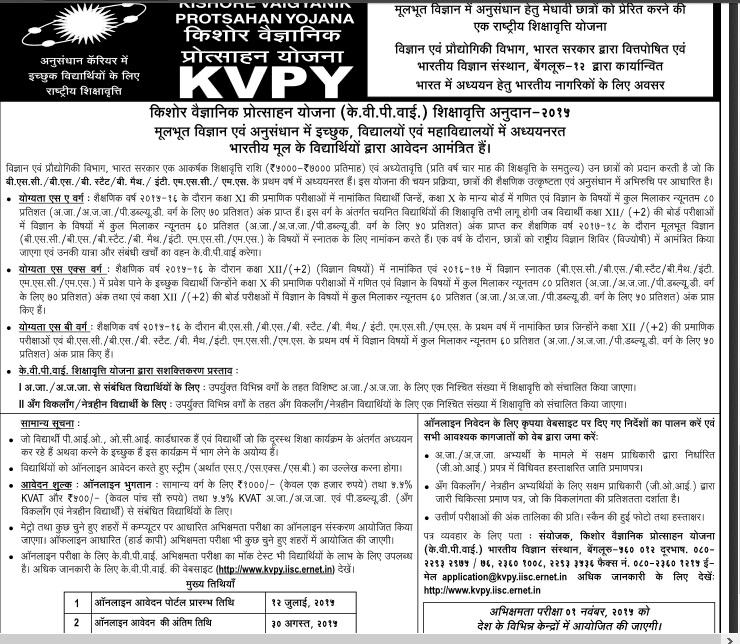kvpy registration, kvpy exam, kvpy test, kvpy result will bepublished ...