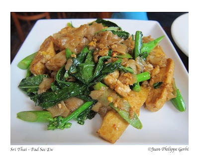 Image of Pad See Ew with vegetables and tofu  at Sri Thai restaurant in Hoboken NJ, New Jersey
