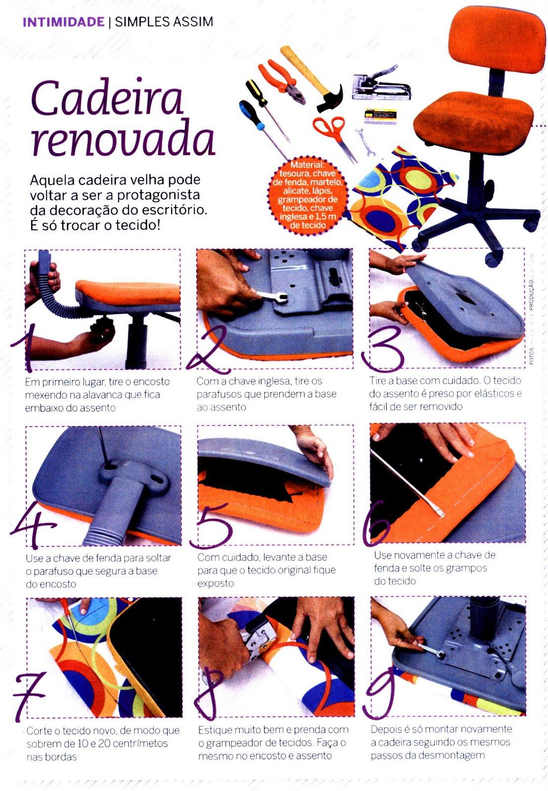 AMO ARTESANATO: REFORMANDO CADEIRA DE ESCRITORIO (NET) #BE310D 1109x1600
