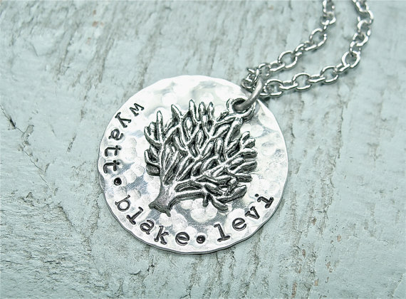 The funky monkey sweet simple jewelry design necklace of your personal touches on jewelry really make it stand out from the rest the custom family tree necklace features a hand stamped disc with a hammered finish solutioingenieria Choice Image