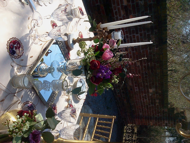 Vintage, vanity tray, mercury glass, wedding centerpiece, Isha Foss Events