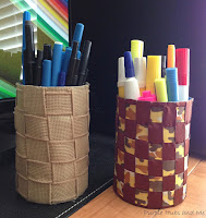 http://plumperfectandme.blogspot.com/2015/08/woven-ribbon-recycled-tin-can-pen-and.html