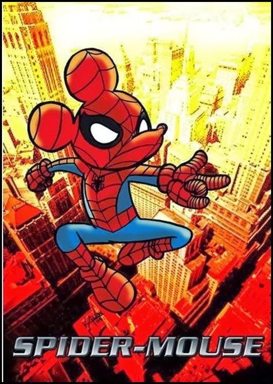 mickey mouse fazendo cover do homem aranha