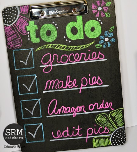 SRM Stickers Blog - Chalkboard To Do List by Christine - 3chalkboard #chalkmarkers #easychalkboardmarker #fluorescent chalkmarkers #alteredproject
