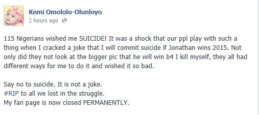 kemi Olunloyo's Fans Says she Can Commit Suicide.