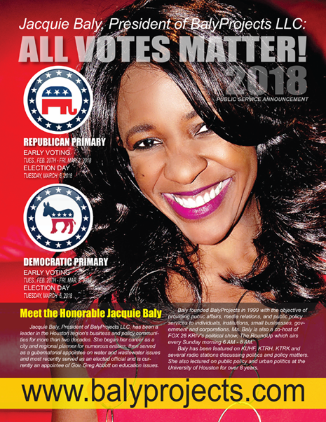 "BACK PAGE - HOUSTON BUSINESS CONNECTIONS MAGAZINE© ""STRATEGIC VOTER"" MOBILIZATION CAMPAIGN"