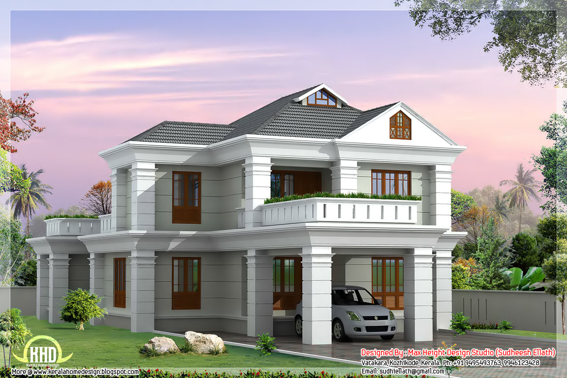 Floor plan and elevation of 2336 4 bedroom house for Free indian house plans