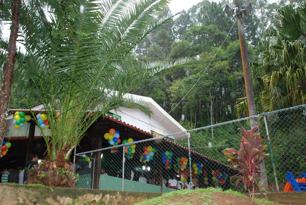 Área externa ampla e arborizada para as atividades dos alunos