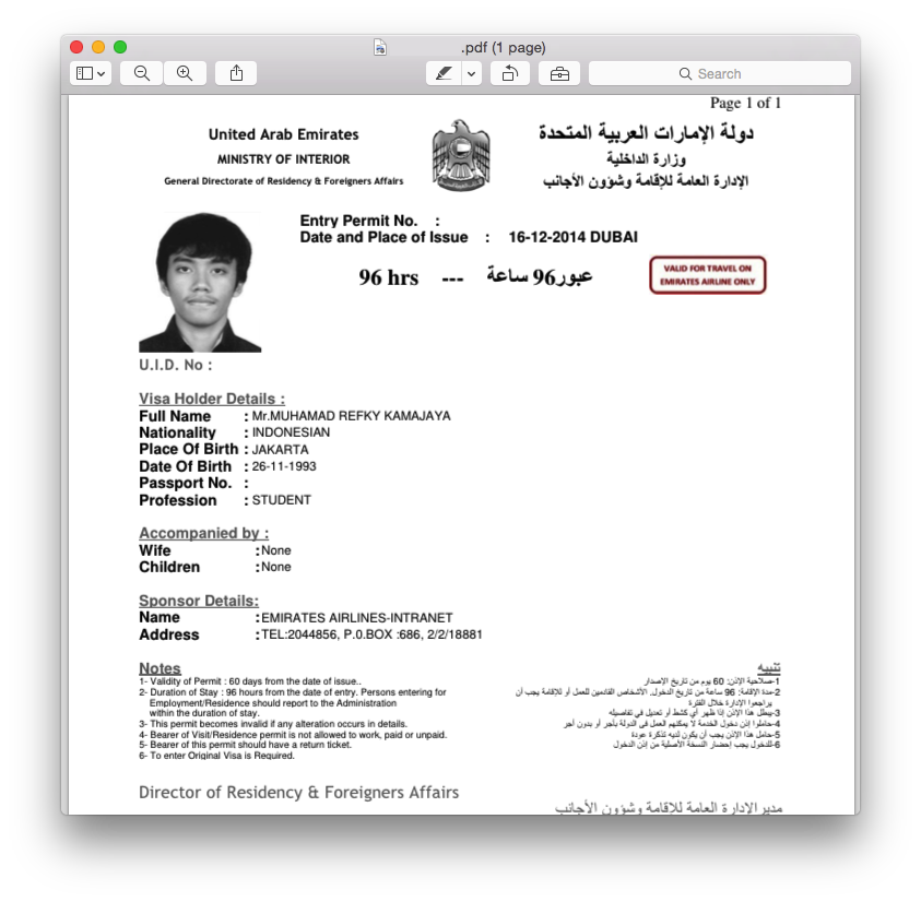 UAE Visa (Dubai) from Emirates