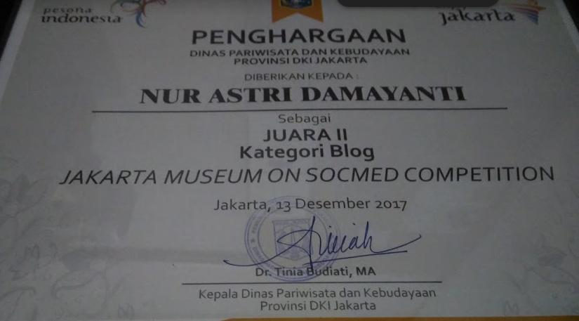 Juara 2 Lomba Blog Jakarta Museum Socmed Competition