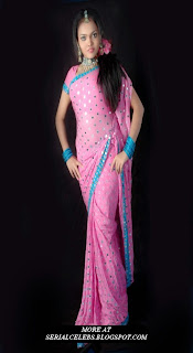 Nitya Sri in pink low hip saree