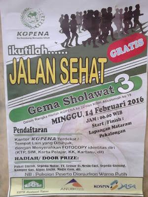 "EVENT: 14 Februari 2016 | Jalan Sehat "" Gema Sholawat 3 "" dalam rangka harlah KOPENA ke 22"