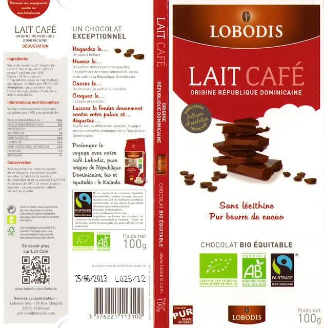tablette de chocolat lait gourmand lobodis lait café