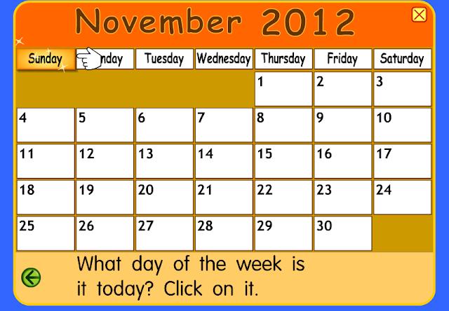 November Calendar 2012 : Lesson plans lattes calendar time