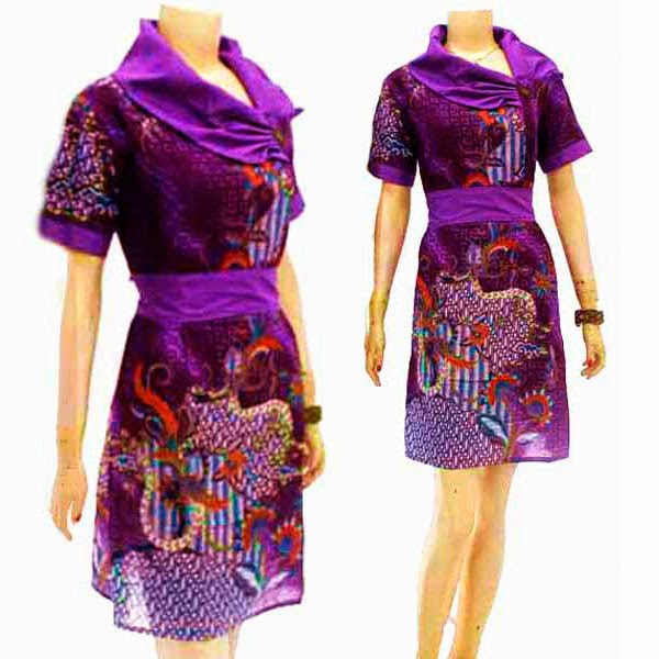 DB3788 Mode Baju Dress Batik Modern Terbaru 2014