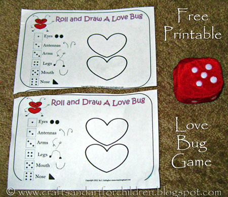 Craft Ideasyear  Boys on Crafts N Things For Children  Free Printable Roll A Love Bug Game