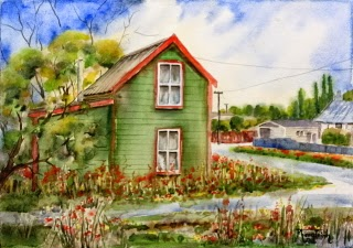 Very Charming Country Cottage with Garden (2) Watercolor on paper, 29.5x42cm