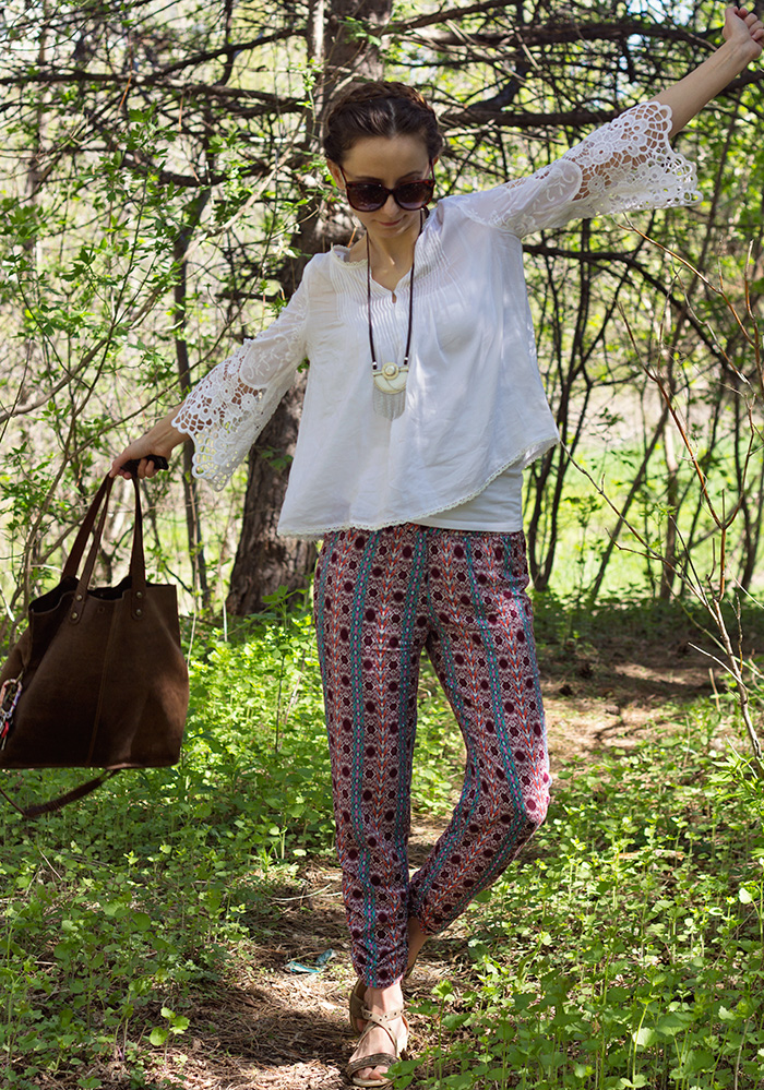 Printed-pants-loose-top-braids