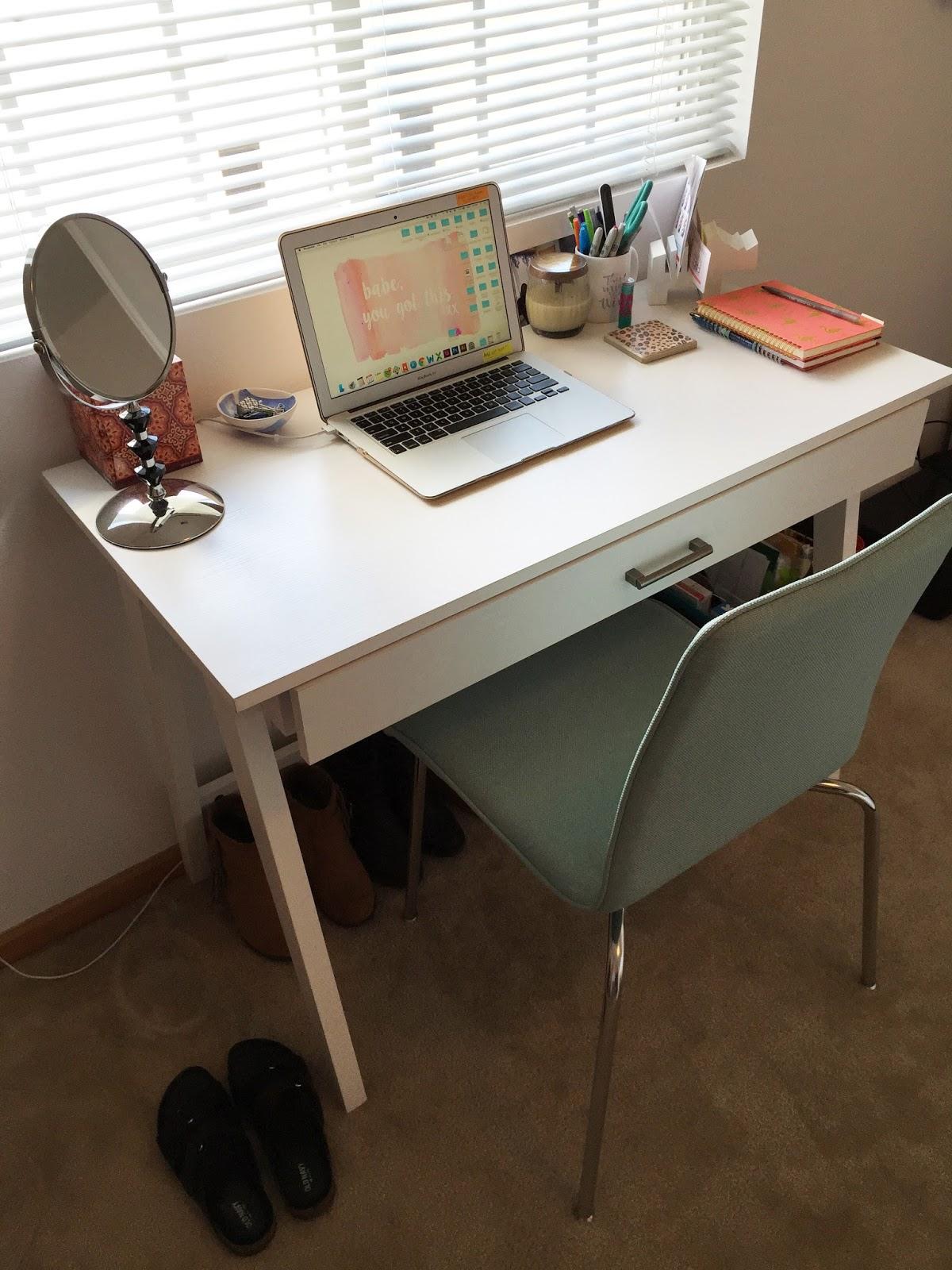 3x3 Shelf / White Desk / Necklace / Bust / Purple Dish From HomeGoods /  Ring Dish / Tassel Earrings / Coffee Mug / Audrey Hepburn Book / Lamp /  Contact ...