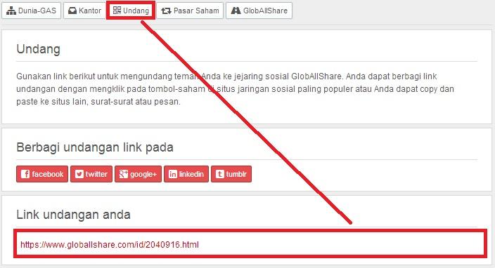 Mengundang teman melalui link GlobAllShare