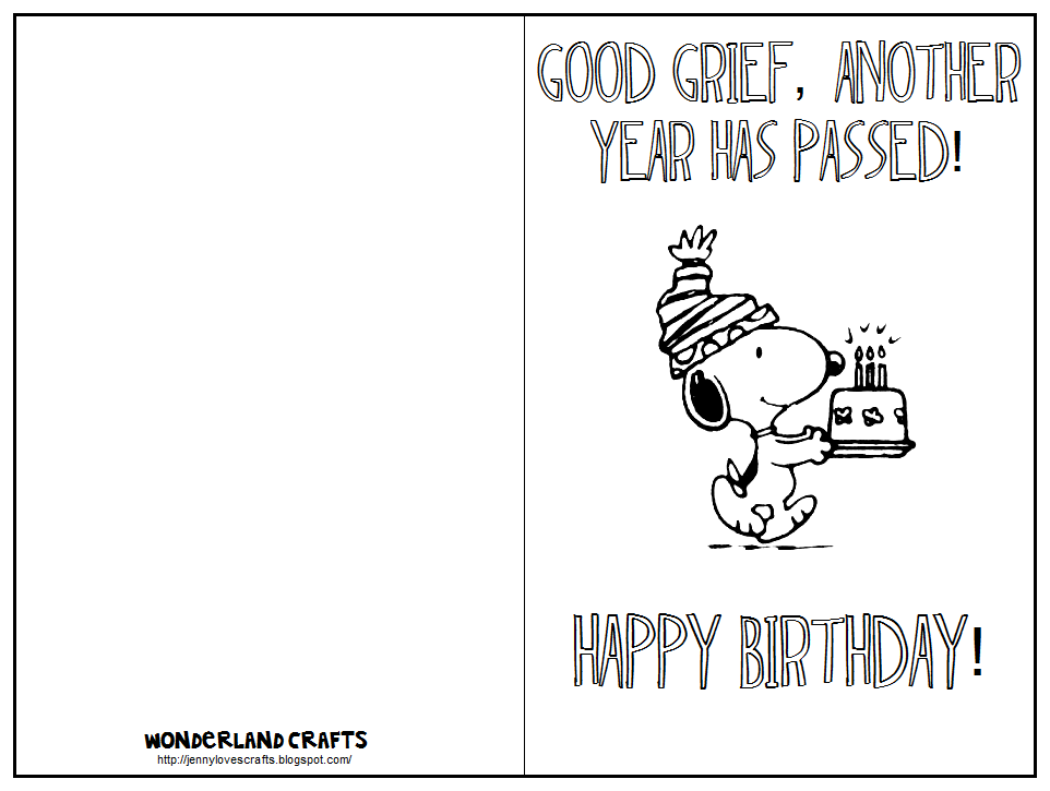 Wonderland Crafts Birthday – Printable Birthday Cards Black and White