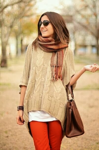 Chic scarf, oversize sweater, white blouse and red pants for fall