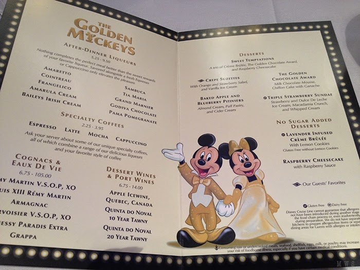 Inside the Golden Mickeys Dessert Menu
