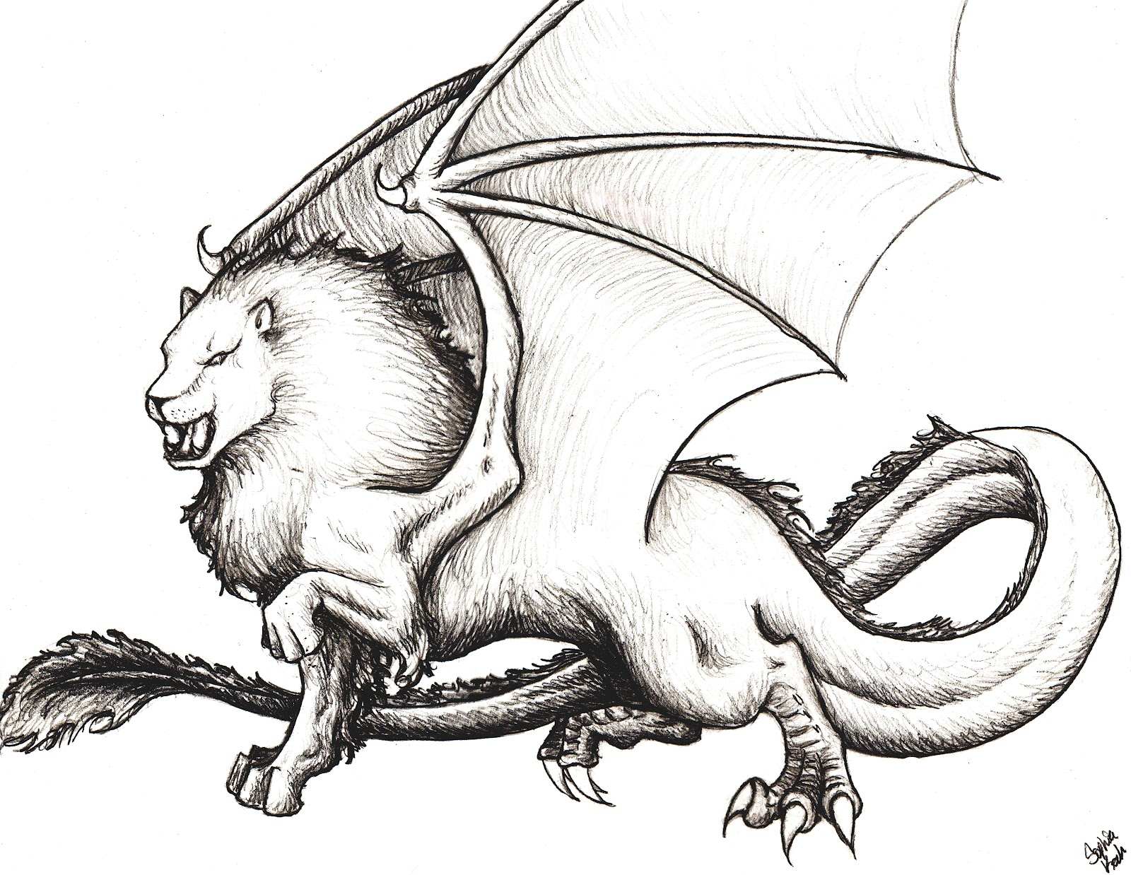 Leodracos--half lion, half dragon, and also engulfed in flames