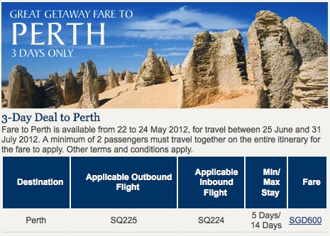 3-Day Deal to Perth: Singapore Airlines
