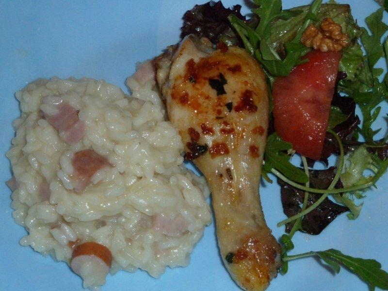 Risotto de frango com bacon e salsicha