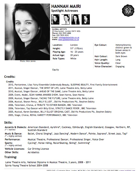 Acting resume write