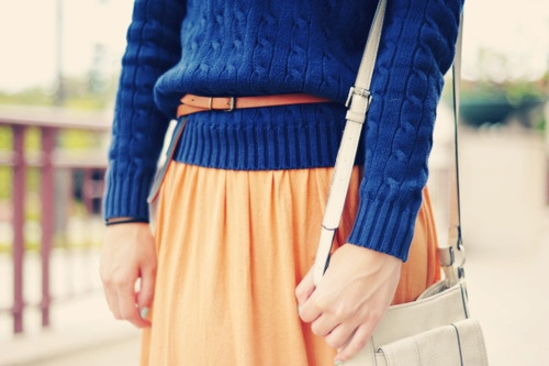 Blue+cable+knit+sweater+with+yellow+skirt.jpg