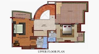 Czar Suites :: Floor Plans:-Darius 5 - Upper Floor Plan Area - 2920 sq. ft. Terrace Area - 447 sq. ft.