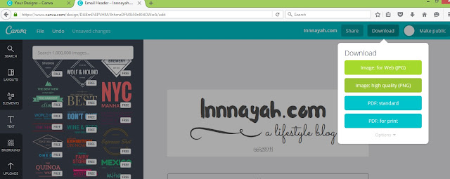 how to design hedaer blog, cara membuat header blog, canva