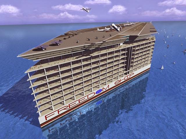 Kapal persiaran Freedom Ship yang dilengkapi pusat beli-belah, galeri kesenian, taman akuarium dan lapangan terbang persendirian, bakal mendapat jolokan 'bandar terapung'.