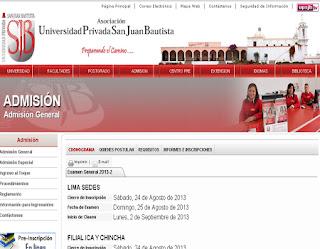 Ingresantes examen UPSJB 2014-2 Examen Universidad Privada San Juan Bautista 24 de Agosto