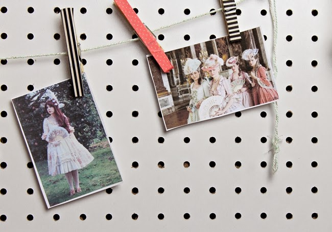 peg board office mood board with washi tape clothespins
