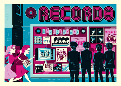 """The Record Store"" The Beatles Standard Edition Screen Print by Dave Perillo"