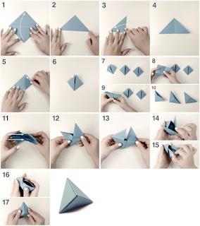 cara membuat origami box segitiga