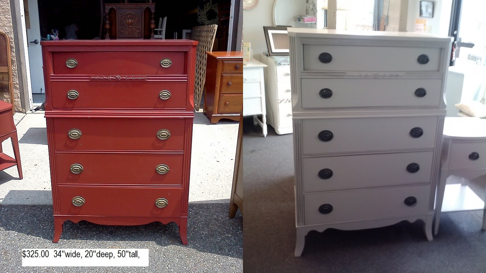 Painting furniture shabby chic - Before And After Vintage Painted Shabby Chic Furniture Dressers
