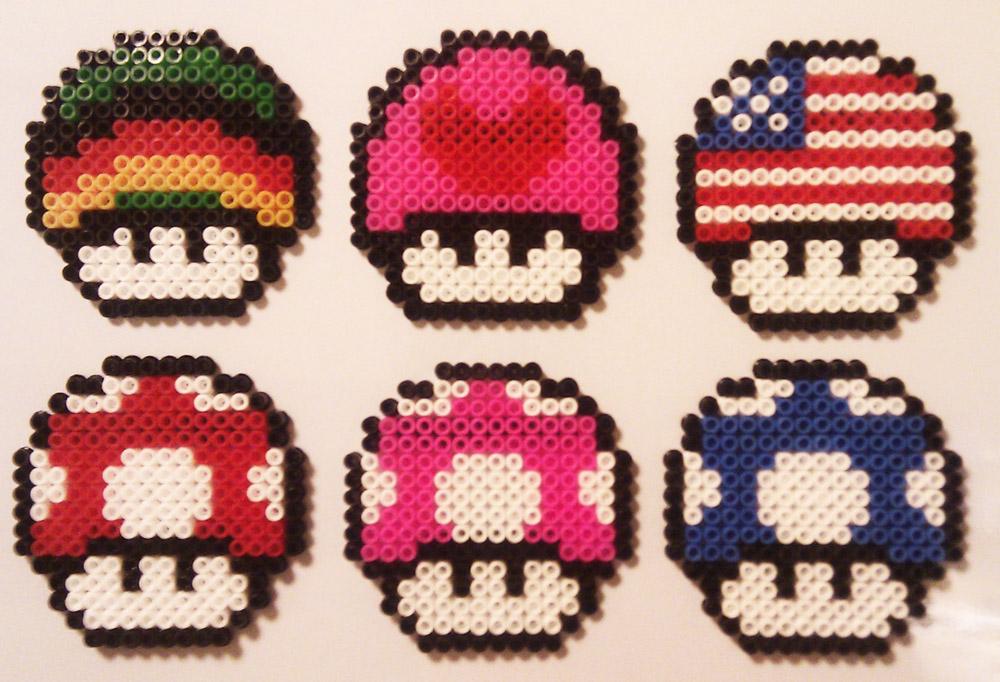 EcoCreo Super Mario Mushrooms Hama Beads Pyssla