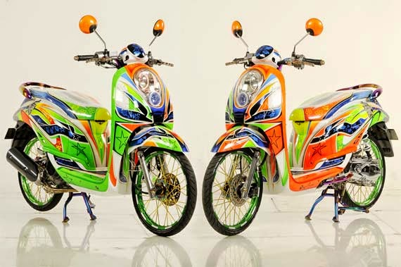 modifikasi motor honda scoopy airbrush