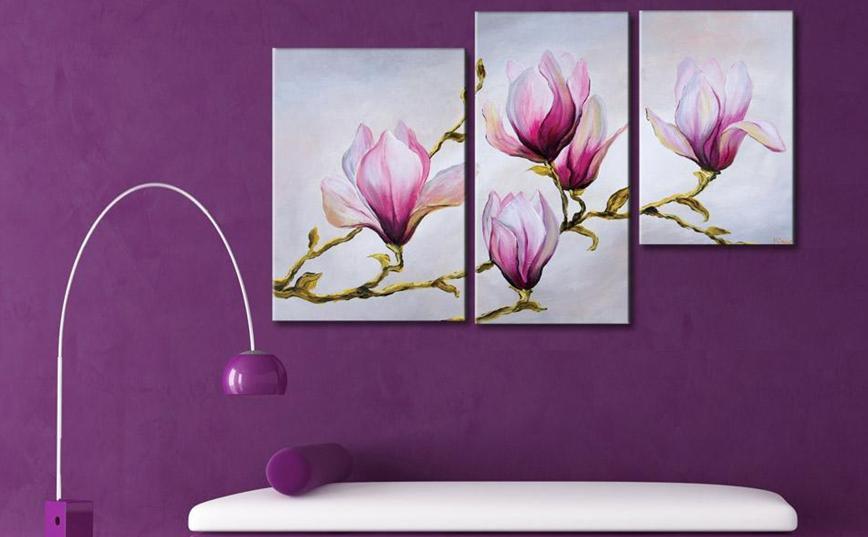 Cuadros flores abstractos tripticos dipticos modernos for Tripticos modernos para salon