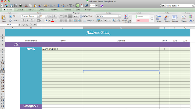 Address Template Excel