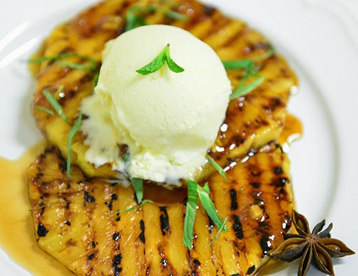 11. Grilled Pineapple with Lemon, Ginger, and Lime Ice Cream