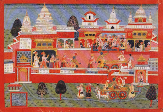 Illustration from a Bhagavatapurana Series: Krishna Abducts Mitravinda