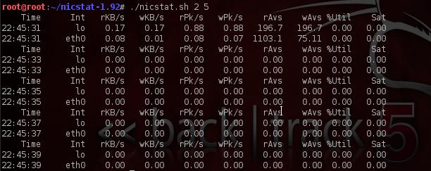 nicstat: Perintah menampilkan Statistik Kartu Jaringan
