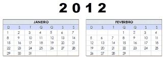 Calendário 2012 uma só página